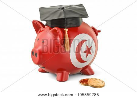 Savings for education in Tunisia concept 3D rendering isolated on white background