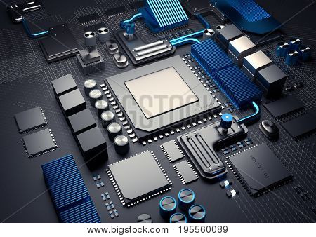 Technology background. Modern CPU on a motherbaord for mobile and computere devices. 3D illustration render.