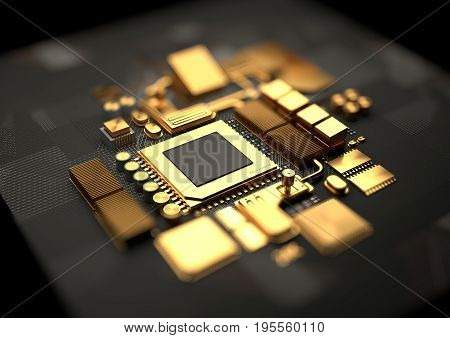 Technology background with 24k gold CPU and motherboard chipset components. 3D illustration render