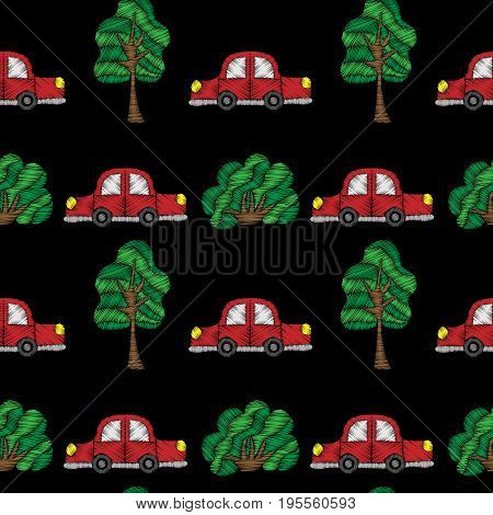 Seamless pattern with little red car and tree embroidery stitches imitation. Embroidery background for child with car and tree. Embroidery red car seamless pattern.