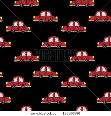 Seamless pattern with little red car embroidery stitches imitation. Embroidery background for child with car. Embroidery red car seamless pattern.
