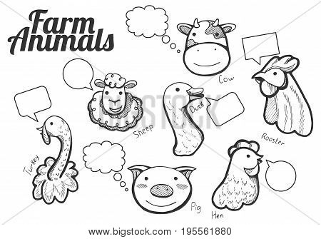 Vector illustration of a funny hand drawn farm animals portrait icons with labels and bubbles to speak: cow sheep hen rooster duck pig and turkey. Hand drawn style.