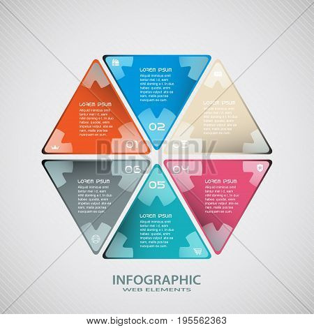 Vector infographic web element of triangular forms cut from paper with text and icons laid out in the form of a hexagon on the gradient gray background.
