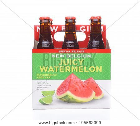 IRVINE CA - JULY 16 2017: New Belgium Watermelon Lime Ale 6 pack. A craft brewery located in Fort Collins Colorado. It was opened in 1991 by Jeff Lebesch and Kim Jordan.