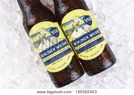 IRVINE CA - JULY 16 2017: Samuel Adams Berliner Weisse on ice. From the Boston Beer Company. Based on sales in 2016 it is the second largest craft brewery in the U.S.