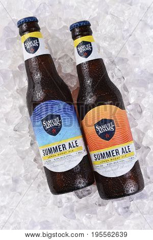 IRVINE CA - JULY 16 2017: Samuel Adams Summer Ale on ice. From the Boston Beer Company. Based on sales in 2016 it is the second largest craft brewery in the U.S.