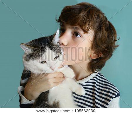 Teenager Boy Hug Cuddle With Cat