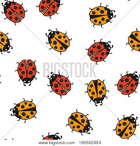 Seamless pattern with handdrawn doodle ladybugs. Vector cartoon illustration.