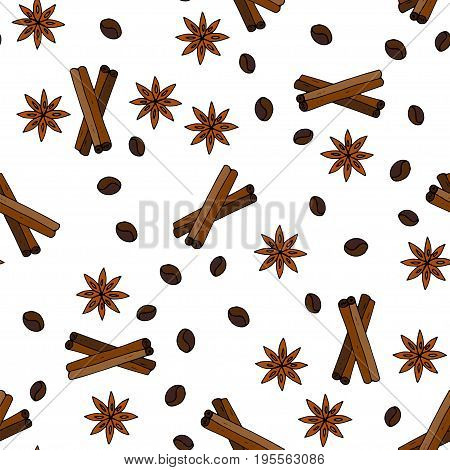 Seamless vector pattern with coffee grains, cinnamon sticks and stars anise. Handdrawn doodle illustration.