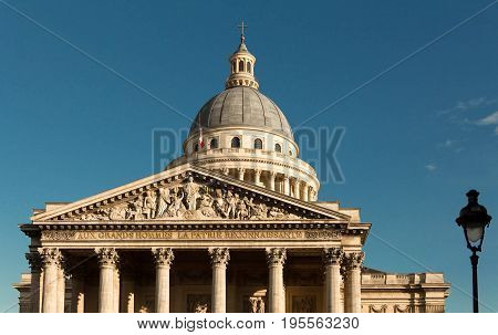 The Pantheon is a secular mausoleum containing the remains of distinguished French citizens.Located in the 5th arrondissement on the Mountain of Saint Genevieve, it looks out over all of Paris.