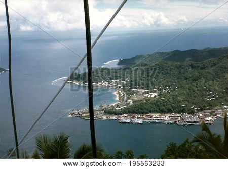 A view of Pago Pago Harbor, and the island of Tutuila, as seen from the top of Mount Alava in American Samoa.