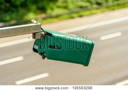 Day view of average speed traffic camera over UK Motorway.