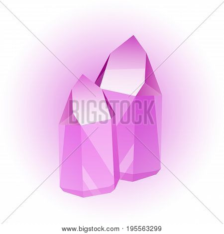 Vector set of colored minerals, crystals, gems and diamonds. Magic crystals of different forms on white background. Isolated bright shining jewels of pink, blue and green colors