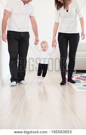 Happy Family Of Three Enjoying At Home. Parents Learning Their Beautiful Baby Girl How To Walk. Fami