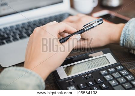 Morning Business Woman. Laptop, Phone And Calculator In Female Hands. Horizontal Frame