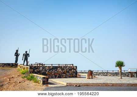 The Statues At Mirador Corrales De Guize, Fuerteventura, Spain