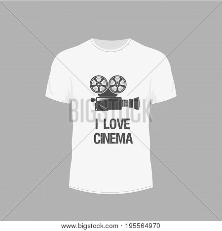 Men's white t-shirt with short sleeve in front views. Design for T-shirts. Video camera image on cinematic theme.