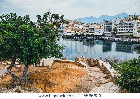 Agios Nikolaos Town At Summer Evening. Agios Nikolaos Is One Of The Most Touristic Cities On Crete I