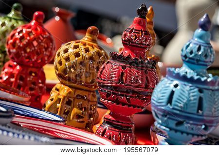 Typical colorful oriental ceramics in a market