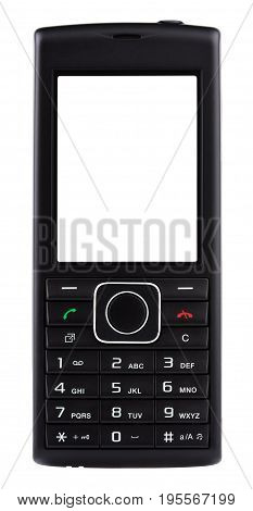 Front view of simple classic black mobile phone with buttons isolated on white background
