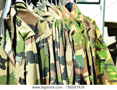 Military uniform camouflage sold on the market