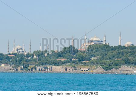 istanbul cityscape as seen from a Bosphorus tour boat - Istanbul, Turkey