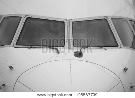 Extreme closeup of Passenger jet airliner viewed fron airport terminal
