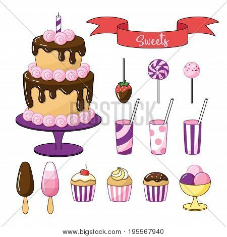 Set of bright sweets and objects. Cake with chocolate icing small cakes and ice cream. Vector clipart on white background.