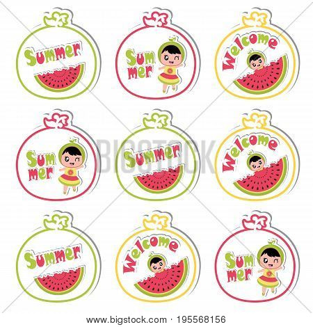 Summer cupcake topper with cute girl and watermelon on watermelon frame vector cartoon for summer cupcake topper and sticker set