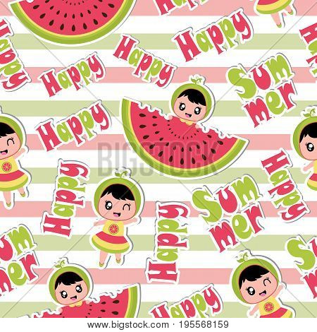 Summer seamless pattern with cute girl and watermelon on striped background vector cartoon for summer wallpaper and scrap paper