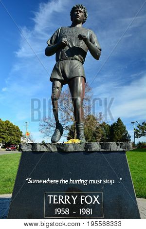 Victoria BC,Canada March 3rd 2015.A sculpture of Canada's most dearest Canadian,Terry Fox the Marathon of Hope man.This one legged wonder ran a marathon a day for cancer research before the deadly disease took his life.Us Canadians will never forget yo