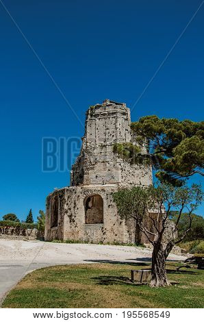 View of the Tour Magne (Magna tower) with blue sky, in the high part of the Gardens of the Fountain, in the city center of Nimes. Located in the Gard department, Occitanie region in southern France