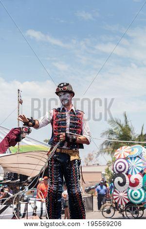 Performer Benjamin Gadbois With The Dragon Knights Steampunk Stilt Walkers