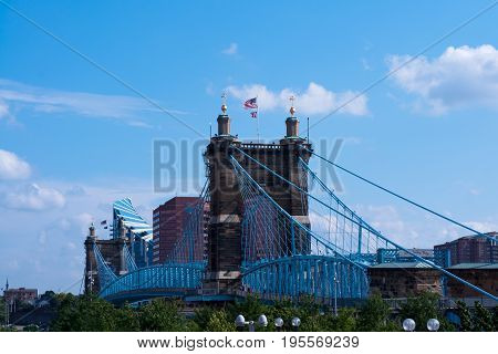 John A. Roebling bridge  spanning the Ohio river.