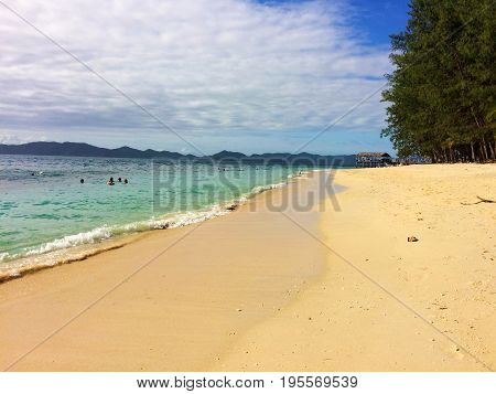 Beach Scene of Doinin Island, Papua New Guinea.