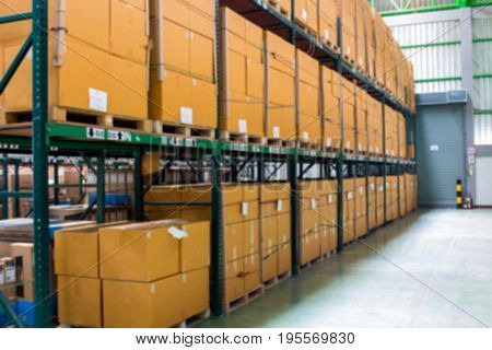 Boxes keep of warehouse. Rows of shelves with boxes