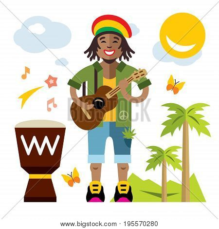 African adult male with dreadlocks and a guitar. Isolated on a White Background