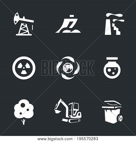 Oil rig, plow, factory, nuclear fuel, processing, chemical, wood, excavator, garbage can.