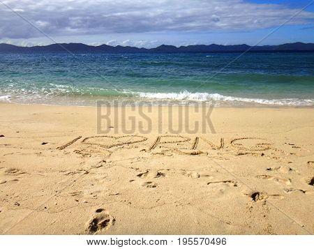 Sand Writing, Doini Island, Papua New Guinea
