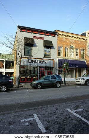 PETOSKEY, MICHIGAN / UNITED STATES - NOVEMBER 22, 2016: Duffy's Garage and Grille offers gourmet meals, on Lake Street in downtown Petoskey.