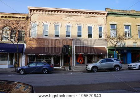 PETOSKEY, MICHIGAN / UNITED STATES - NOVEMBER 22, 2016: One may purchase outdoor apparel and sporting goods at Bearcub Outfitters, on Lake Street in downtown Petoskey.