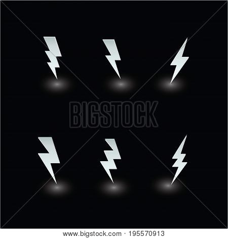 set paper thunder ideas design vector illustration graphic on black background