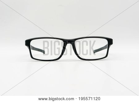 A Black Plastic Eye-wear Or Eye-glasses On White Background