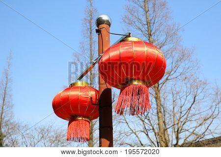 Red Chinese festival lanterns for New Year, colorful lanterns - traditional decoration with red Chinese lantern