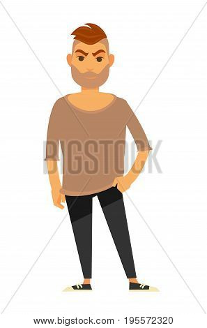 Modern man with thick bristle, light brown loose sweater, black skinny trousers and sneakers isolated vector illustration on white background. Male character with brutal face stands and holds pose.