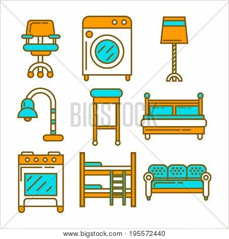 Furniture and equipment for house collection in graphic design. Vector colorful poster in flat style of double and children's beds, table lamps, long and moving chairs, washing machine and cooker