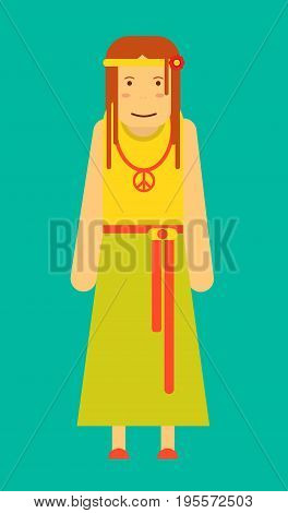 Funny hippie girl with flower in hair, long skirt, ribbon belt, yellow shirt and pacifist sign on necklace isolated vector illustration on turquoise background. Cartoon informal female character.