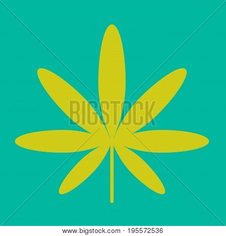 Cannabis green leaf showing hippie sign isolated vector colorful illustration in graphic design. Colorful closeup tree soft edge divided on seven long parts for hippie culture logotype design