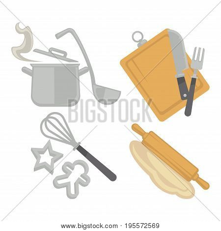 Cooking or baking kitchenware utensils and cutlery. Saucepan with ladle spoon, whisk with cookie forms, dough on rolling pin, knife and fork on cutting board. Vector flat isolated icons set