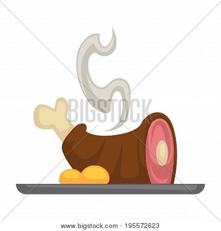 Meat grill or roasted pork knuckle leg with garnish on plate. Vector flat icon of barbecue ham or brisket for bbq grill party and restaurant menu